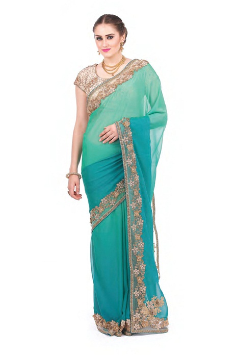 Mind Blowing  Seagreen Saree With Zari embroidered Border