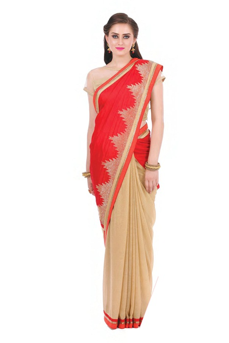 Red Saree With Beige In Contrast And Matka Print Boder