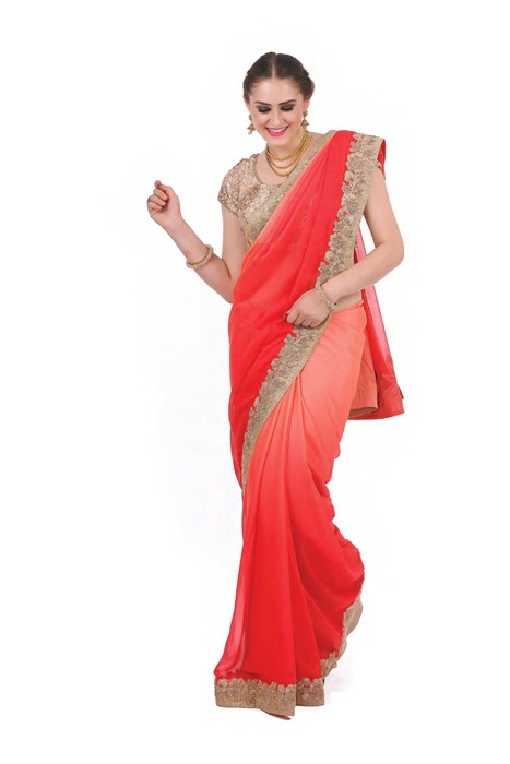 Shaded Peach And Red Saree With Golden  Cutwork Patch Border
