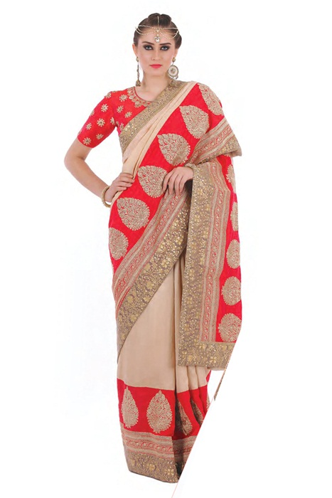 Wedding Saree  in Red With Contrast In Beige Embroidered All Over Border