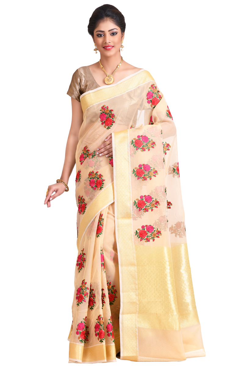 Beige Color Resham Embroidery Zari Border Organza Saree With Weaving Blouse