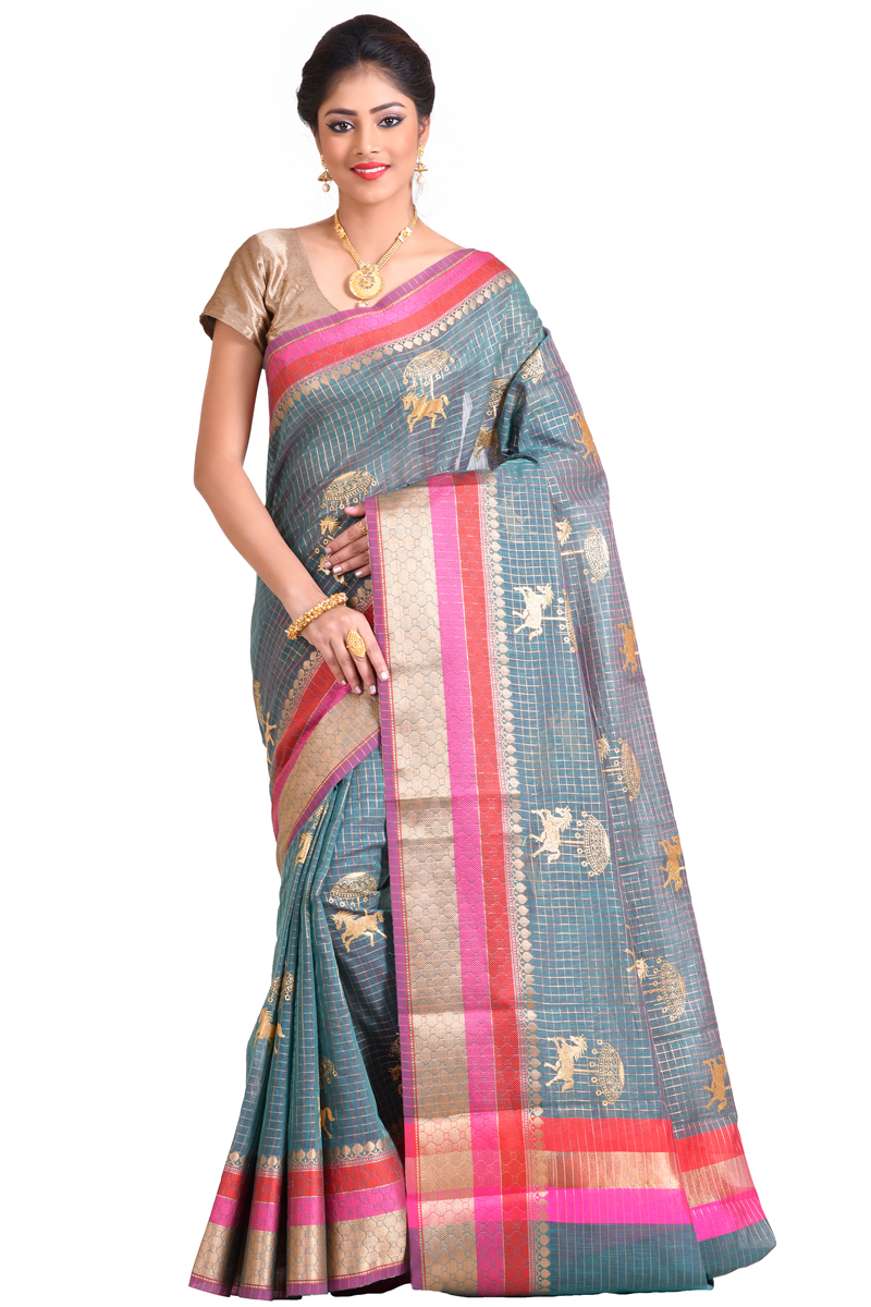 Grey Color Golden Zari Work And Weaving Zari Bordered Chanderi Checks Saree