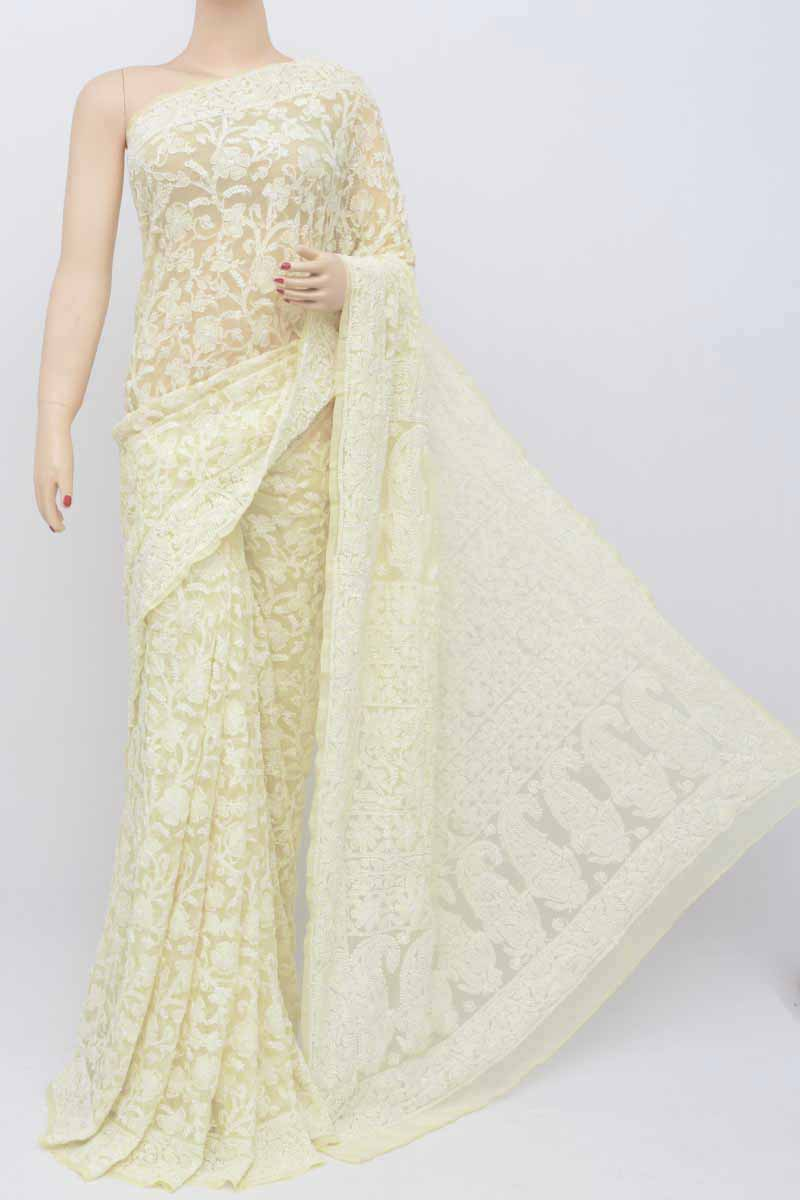Light Yellow Color Allover Jaal Heavy Palla Hand Embroidered Lucknowi Chikankari Saree (with Blouse - Georgette) Kc250569