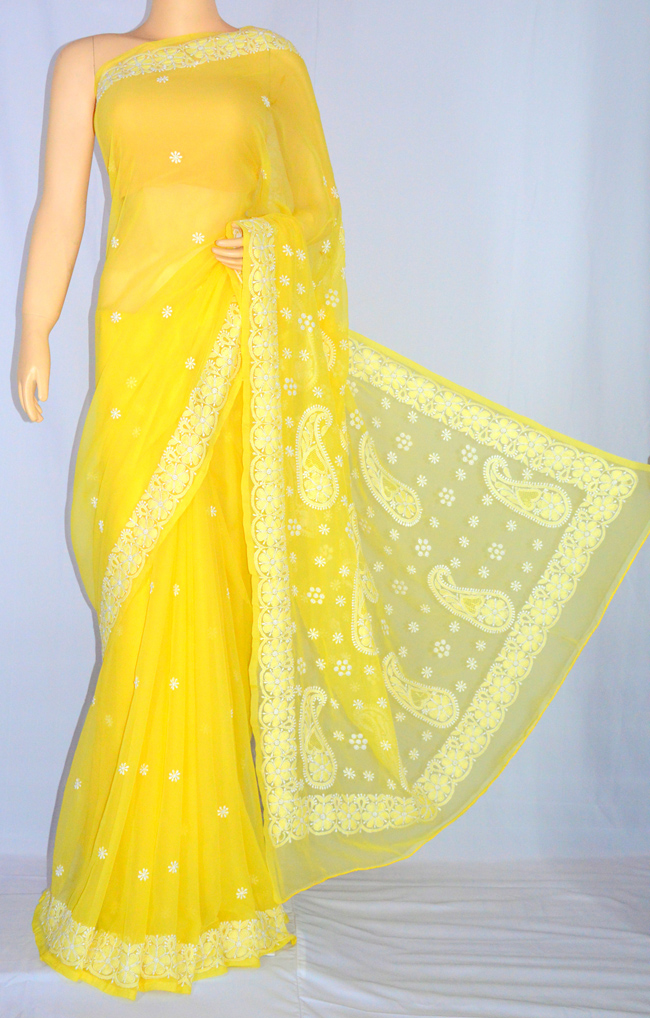 Yellow  Hand Embroidered  Work Lucknowi Chikankari Saree (With Blouse - Georgette)- MC60011