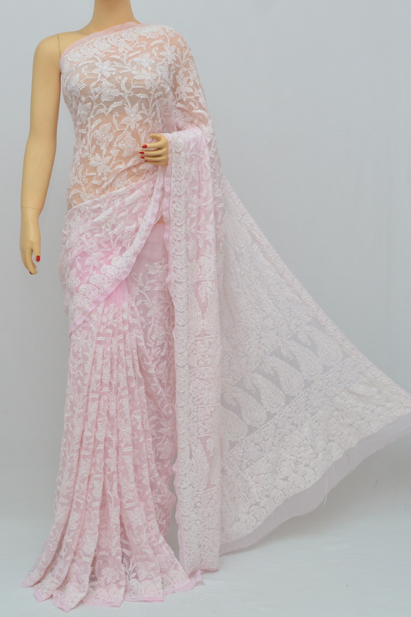 Baby Pink Color, Allover Jaal Heavy Palla Hand Embroidered Lucknowi Chikankari Saree (with Blouse - Georgette) My250331