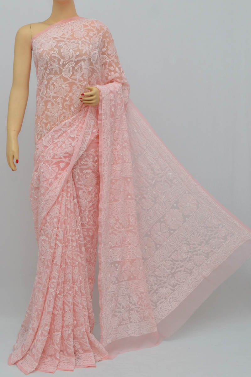 Peach Color, Allover Jaal Heavy Palla Hand Embroidered Lucknowi Chikankari Saree (With Blouse - Georgette) MY250333