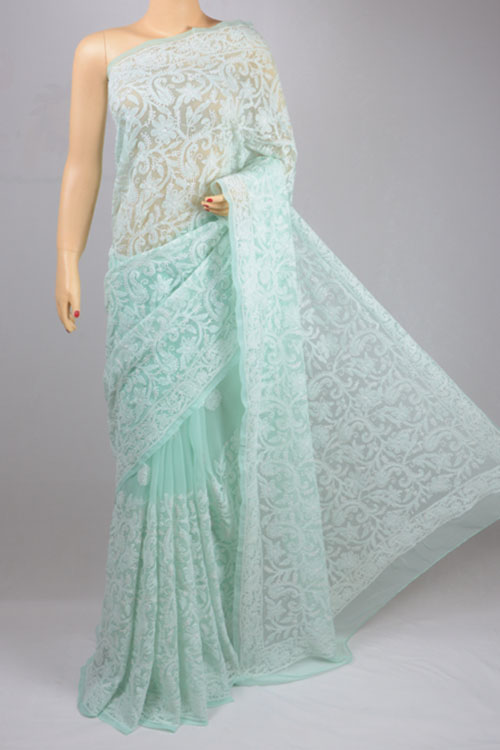 Sea Green Allover Jaal Hand Embroidered Lucknowi Chikankari Saree (With Blouse - Georgette)MC250044-1