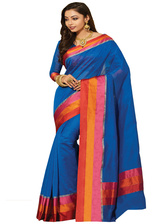 Dark Blue Matka Art Silk Saree MC4500C104
