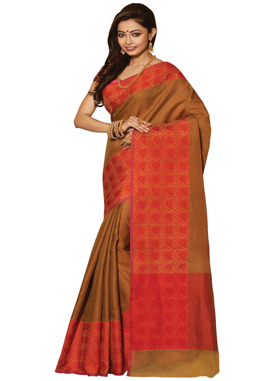 Brown Matka Art Silk Saree Mc4500c112