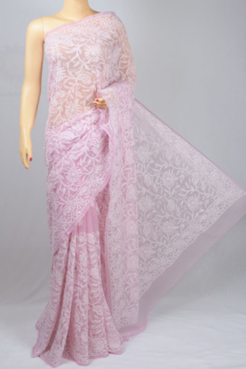 Light Onion Color Allover Jaal Hand Embroidered Lucknowi Chikankari Saree (With Blouse - Georgette) MC250043-1