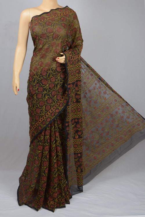Black Allover Tepchi Work Hand Embroidered Lucknowi Chikankari Saree (With Blouse - Georgette) MC250045