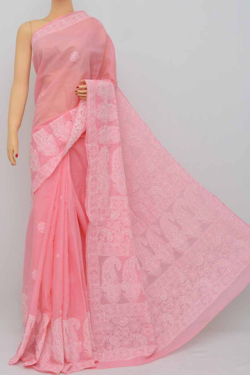 9d939972be Baby Pink Color Hand Embroidered Lucknowi Chikankari Saree (With Blouse -  Cotton) SS250403