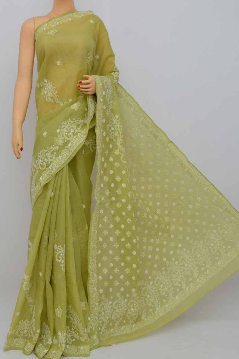 Green Color Hand Embroidered Lucknowi Chikankari Saree (With Blouse - Cotton) SS250404