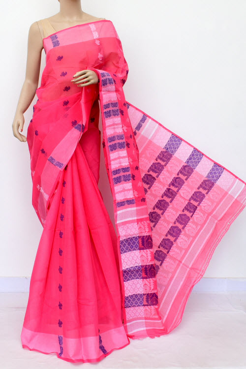 Pink Handwoven Bengal HandloomCotton Saree (Without Blouse) 16981
