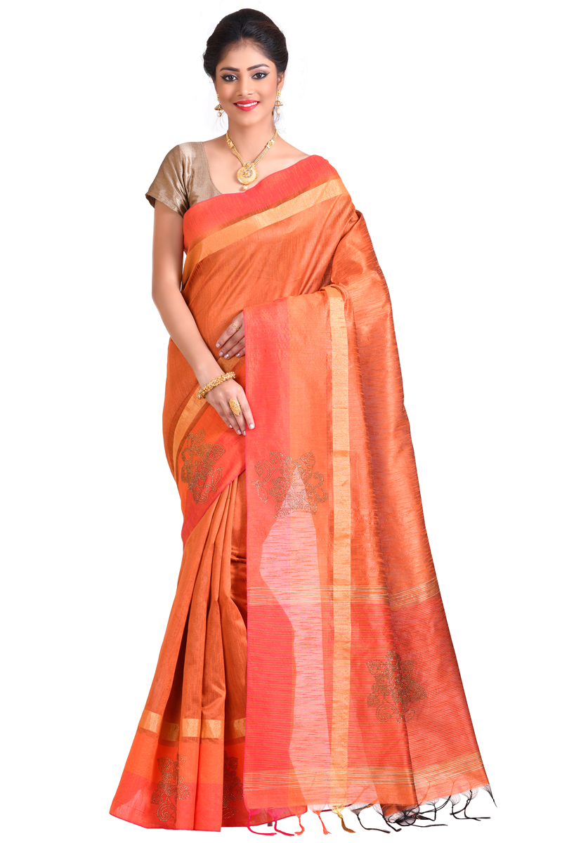 Safron Color Stone Work With Patta And Pimples And Golden Bordered Matka Saree.