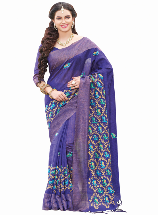 BLUE, GREEN SILK SAREE MC4500F113