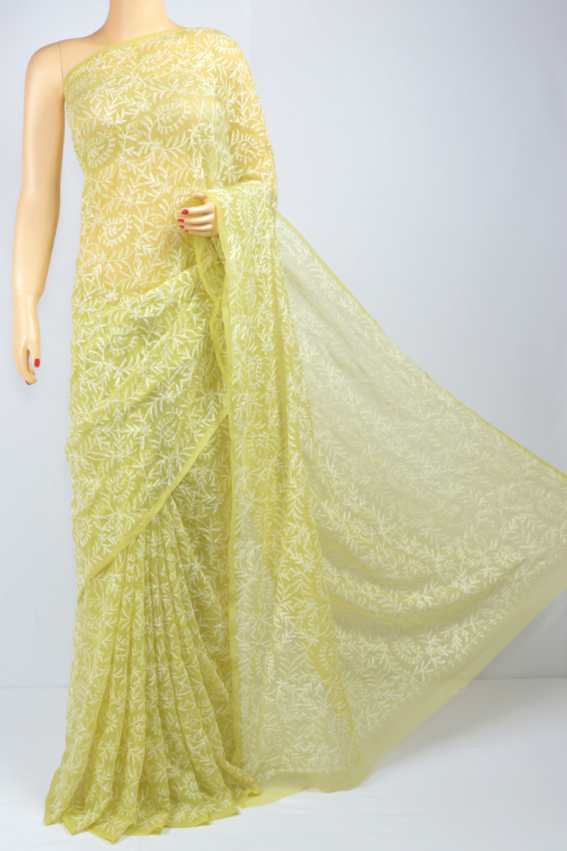 Mehandi Green Color, Allover Tepchi Work Hand Embroidered Lucknowi Chikankari Saree (With Blouse - Georgette) MC250094