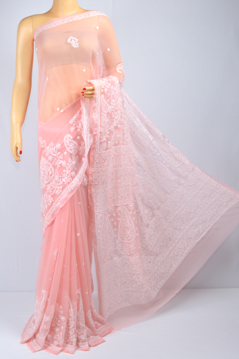 Peach Color Hand Embroidered Lucknowi Chikankari Saree (With Blouse - Georgette) MC250095