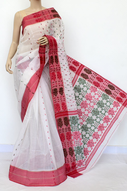 White Colour Handwoven Bengal Handloom Cotton Saree (without Blouse) 16996